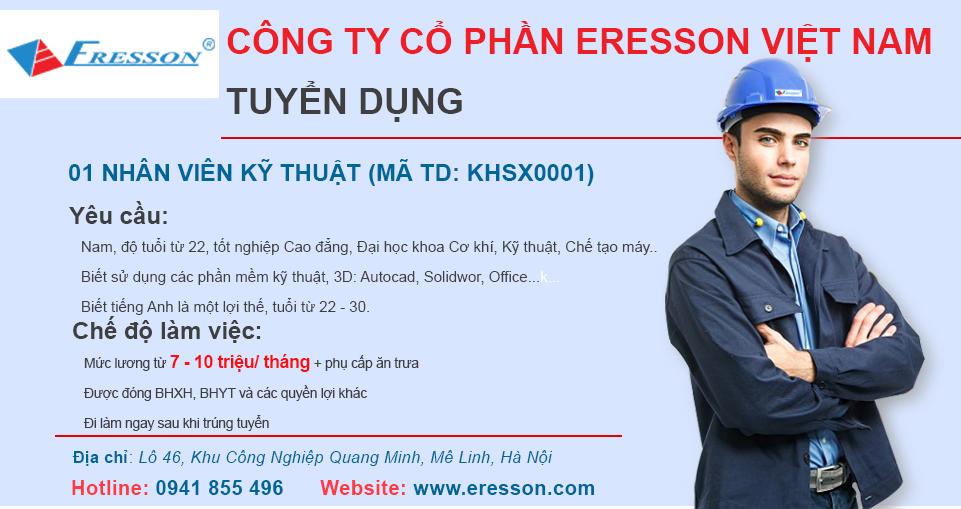 Tuyển dụng vị trí Nhân viên kỹ thuật (Mã: KHSX0001)